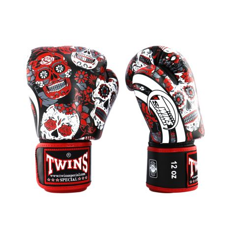 Twins Skull Boxing Gloves - FBGVL3-53-Red-16oz