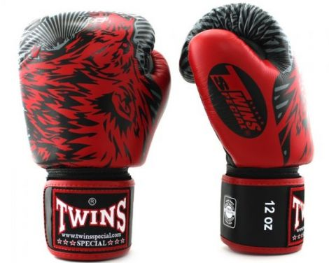 TWINS FANCY BOXING GLOVES - FBGVL3-50-Red-16oz