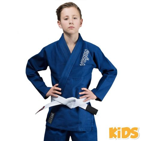 VENUM CONTENDER KIDS BJJ GI (FREE WHITE BELT INCLUDED)-Blue-00
