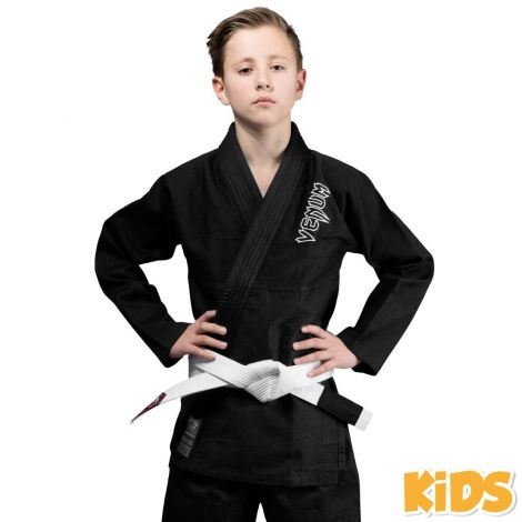 VENUM CONTENDER KIDS BJJ GI (FREE WHITE BELT INCLUDED)-Black-00
