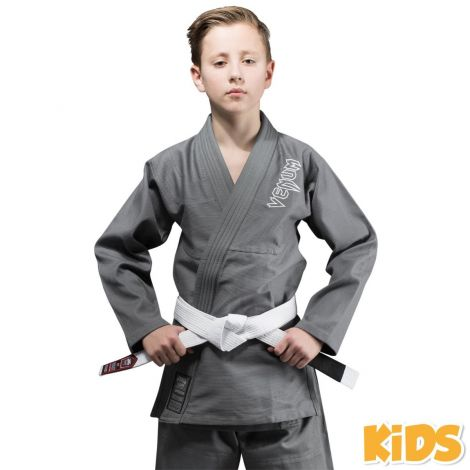 VENUM CONTENDER KIDS BJJ GI (FREE WHITE BELT INCLUDED)-Gray-00