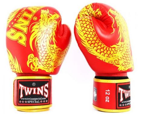 TWINS FANCY BOXING GLOVES - DRAGON - FBGVL3-49-Gold/Red-12oz