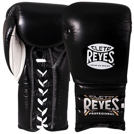 CLETO REYES TRAINING BOXING GLOVES WITH LACES - BLACK