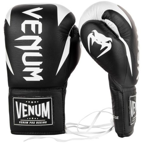 VENUM HAMMER PRO BOXING GLOVES - WITH LACES -Black/White-12oz