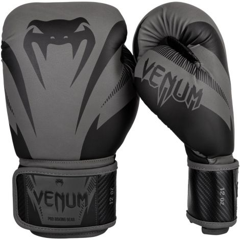 VENUM IMPACT BOXING GLOVES-Black/Grey-12oz