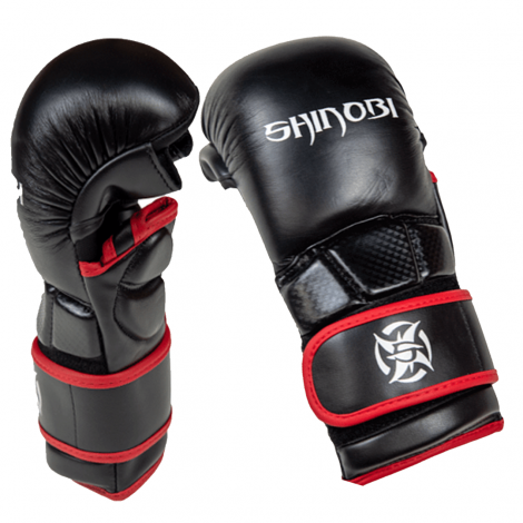 SHINOBI COMBAT SPARRING MMA GLOVES-Black-S/M