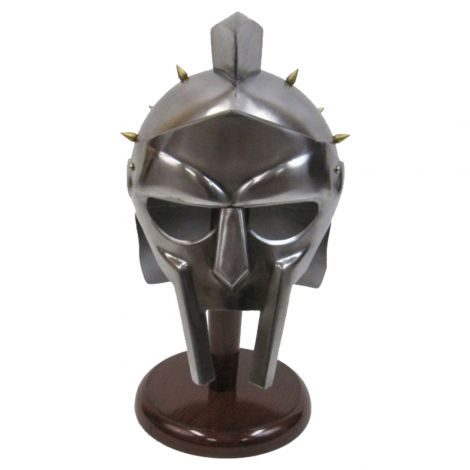 Steel Metal Decorative Helmet with inlet and MDF Wood Stand - Silver