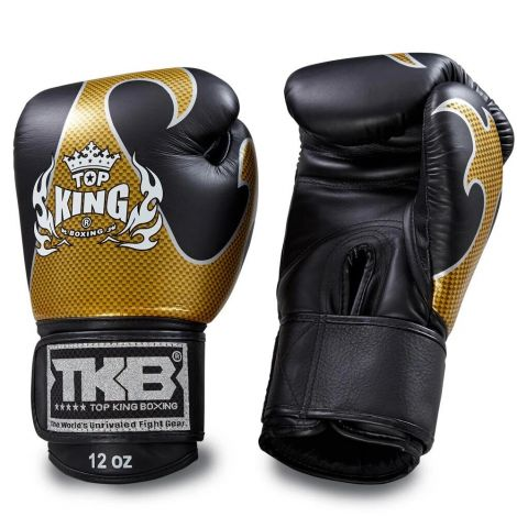 Top King Empower Boxing Gloves-Black/Gold-16oz