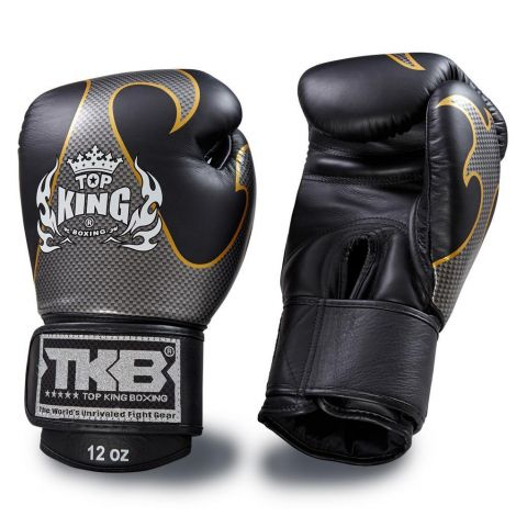 Top King Empower Boxing Gloves-Black/Silver-16oz