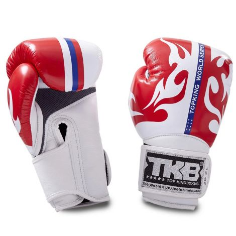 Top King World Series Boxing Gloves-Red-12oz